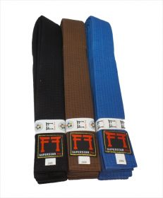 IJF approved judoband zwart, IJF approved judoband bruin en IJF approved judoband blauw