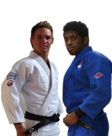 Gill Sports judopak competition wit Neal van de Kamer en competition blauw Marvin de la Croes