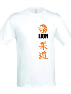 Judo T-shirt 'judo in japanse karakters' in oranje kleur