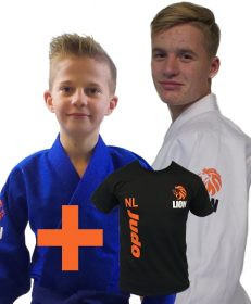 pakketdeal Lion 550 Talent Gi wit en blauw met Lion T-shirt NL Judo