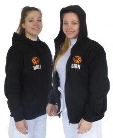 Hooded jacket: Lion Hoodie in zwart met ritsluiting