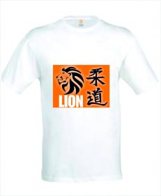 Lion Judo T-shirt in wit