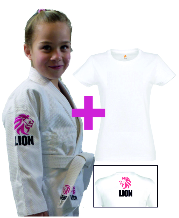 e17db80dbd6 Pakket Lion Kids Girls + judo T-shirt | Nieuw Judopak