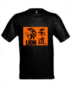 Judo T-shirt LION Judo in kanji oranje