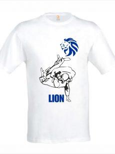 Judo T-shirt LION uchi-mata blauw