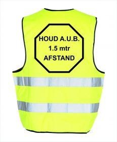 gele hesje veiligheidshesje achterkant corona met zwarte tekst - anderhalve meter afstand