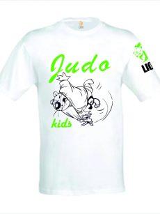 Lion Tshirt wit judo kids zwart-groen