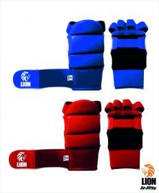 Lion ju-jitsu / jiu-jitsu hand protectors rood en blauw